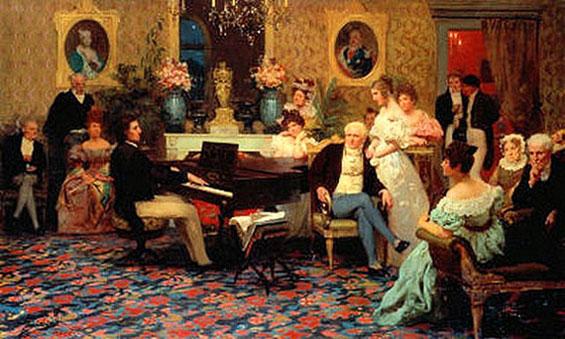 """Frédéric Chopin tocando el piano en el salón """"Prince Radziwills"""" 1837"""