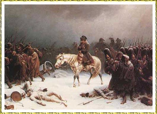 Napoleón se retira de rusia 1812 . pintura de adolf northem