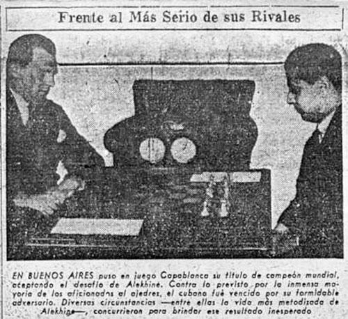 Alekhine y Capablanca, diario Crítica, 9 de marzo de de 1942