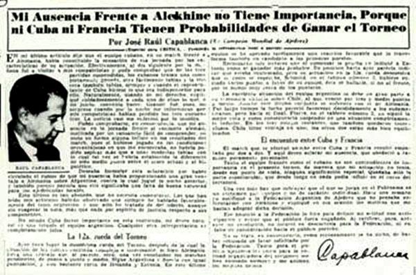 Capablanca explica en el diario Crítica su ausencia en el match Cuba Francia