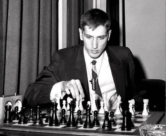 Fischer listo para jugar desde el Marshall Chess Club el Mem Capablanca 1965