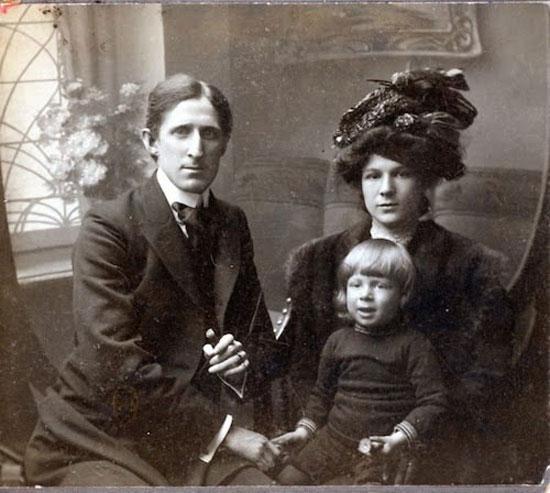 Frank Marshall, Carrie Marshall y Frank Junior en Ostende 1907