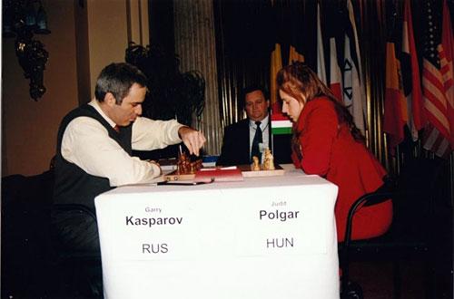 Judit Polgar con Kasparov