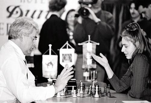 Judit Polgar con Spassky