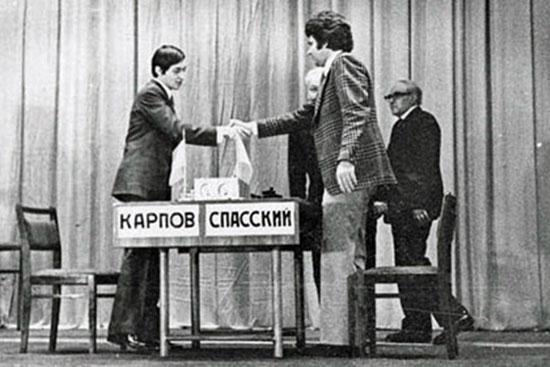 Karpov y Spassky en el match de 1974