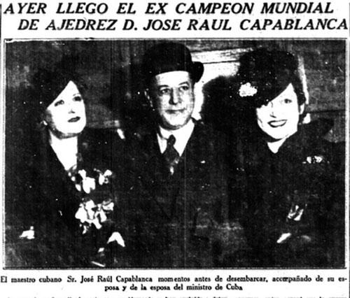 Llegada de Capablanca a Buenos Aires, periódico La Nación, lunes 21 agosto de 1939