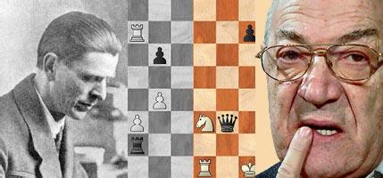 A la izquierda Maroczy a la derecha Korchnoi