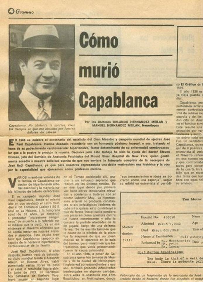 Muerte de Capablanca en el diario cubano Gramma