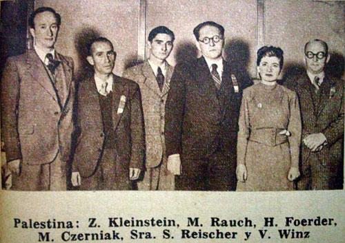 Palestina en Buenos Aires 1939 Zelman Kleinstein, Meir Rauch, Heinz Foerder, Moshe Czerniak, Salome Reischer y Viktor Winz