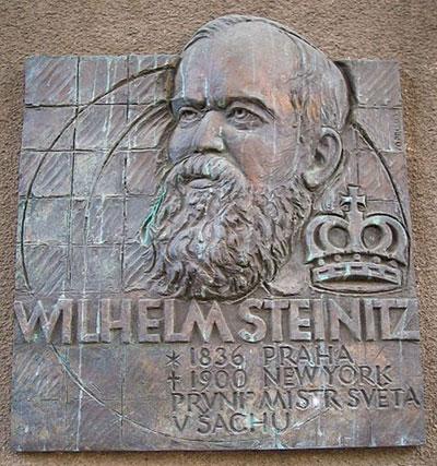Placa de Wilhelm Steinitz en Praga escultor Vladimír Oppl en 2003