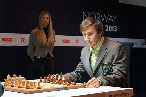 R 6 Karjakin y su mirada de luchador. Norway 2013