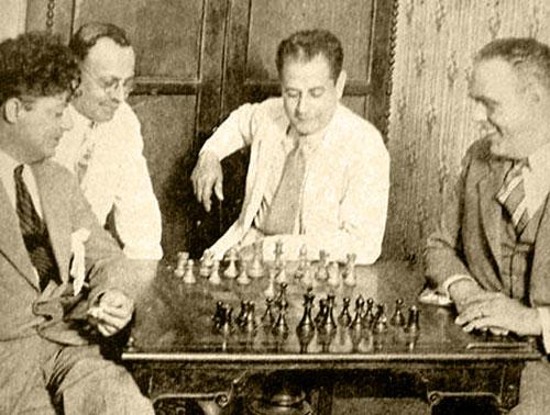 Rafael Blanco, Juan Corzo, Capablanca y Dr. Jose A. Gelabert, La Habana 1928